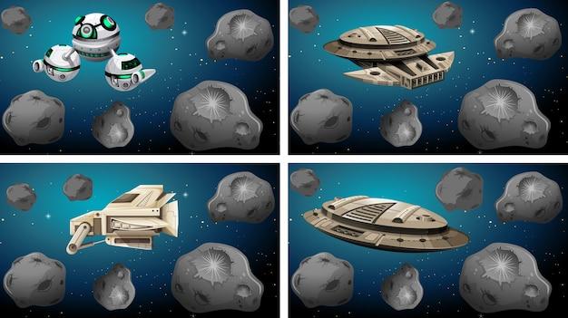 Reihe von verschiedenen raumschiffen