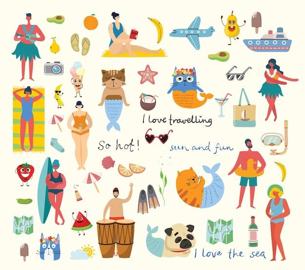Reihe von verschiedenen sommerreiseleuten und symbolen im flachen stil