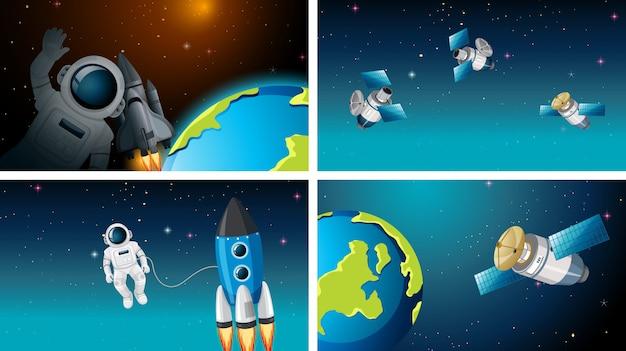Reihe von verschiedenen weltraumszenen mit astronauten