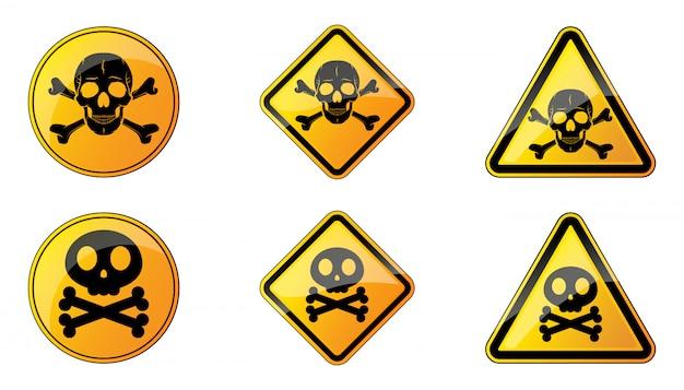 Reihe von warnschildern. vektorillustration. warnsymbole mit menschlichem schädel. gelbes warnschild