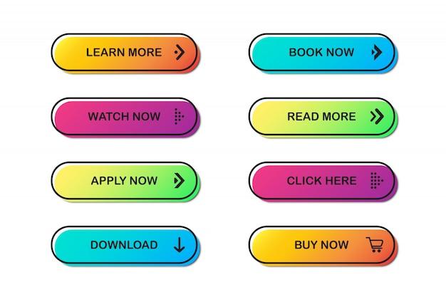 Reihe von website-schaltflächen.
