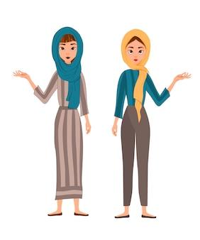Reihe von weiblichen charakteren. mädchen zeigt mit der rechten hand zur seite. vektor-illustration