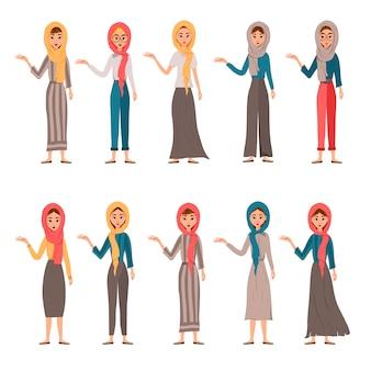 Reihe von weiblichen charakteren. mädchen zeigt mit der rechten hand zur seite.