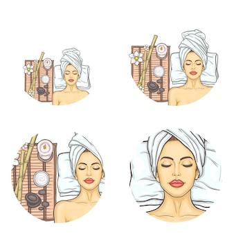 Reihe von weiblichen runden avatare für benutzer von sozialen netzwerken