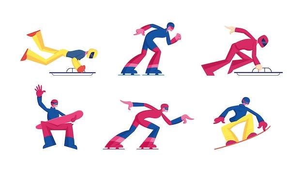 Reihe von wintersportaktivitäten skelett-, skating- und snowboardwettbewerb. karikatur flache illustration