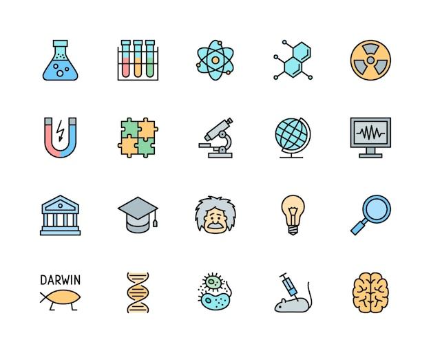 Reihe von wissenschaft color line icons. schulkugel, evolution, dna, bakterien und mehr