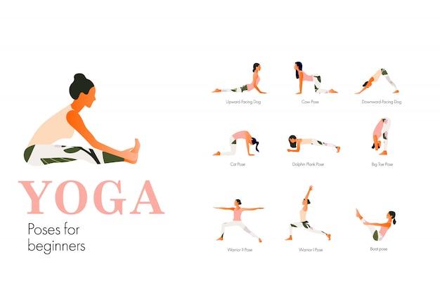 Reihe von yoga-stellungen frauenfiguren für anfänger. frauenzahlen trainieren in gedruckter sportkleidung. flacher stil.