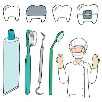 Reihe von zahnarzt und zahnärztliche ausrüstung