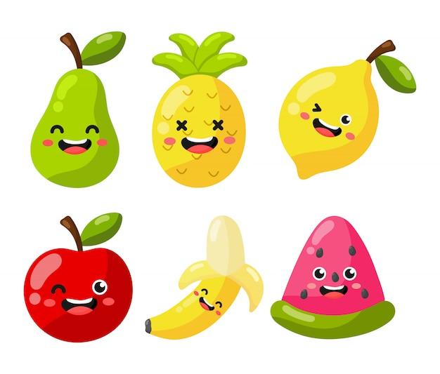 Reihe von zeichentrickfiguren aus tropischen früchten kawaii-stil, isoliert auf weiss