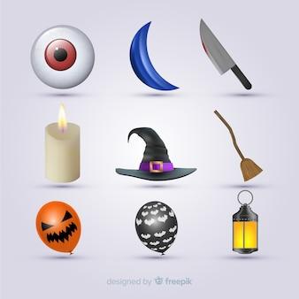 Reihen und spalten der halloween-elementsammlung