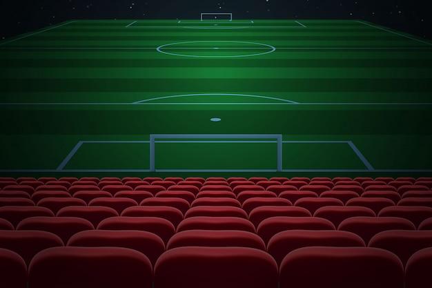 Reihen von roten sitzen auf fußballstadion. fußball hintergrund