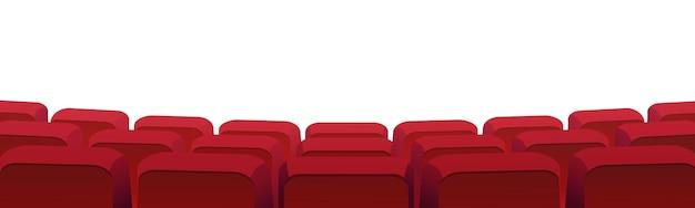 Reihen von theaterfilmen oder kinositzen isoliert auf weiß