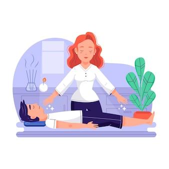 Reiki-therapie mit frau und mann