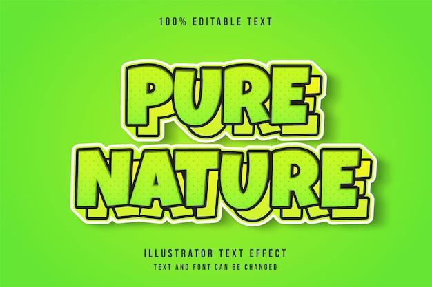 Reine natur, 3d bearbeitbarer texteffekt gelbe abstufung grüner texteffekt Premium Vektoren
