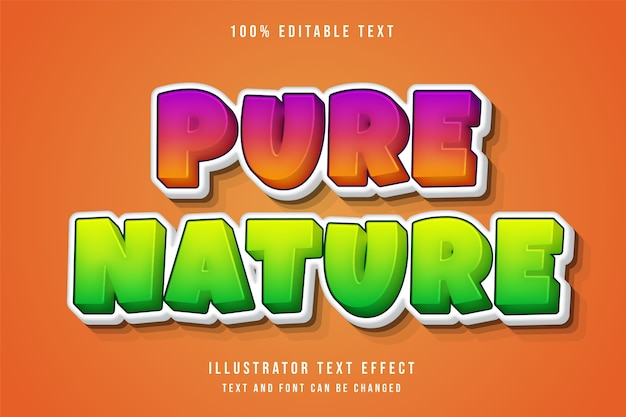 Reine natur, 3d editierbarer texteffekt rosa abstufung orange grün modernen comic-stil
