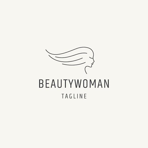Reine schönheit frau linie kunst logo icon design vorlage flacher vektor