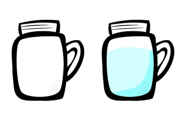 Reines wasser am glas, vektor-einfache doodle-hand-draw-skizze