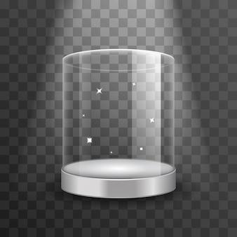 Reinigen sie das glasvitrinenpodest mit scheinwerfer und funken. schaufenster für boutique, zylinderfreies schaufenster für ausstellung in galerie oder museum