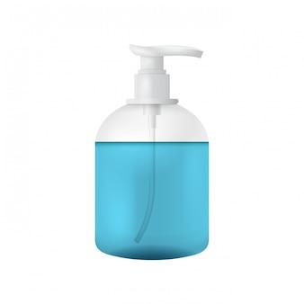 Reinigen sie die plastikflaschenschablone mit dem spender für flüssigseife