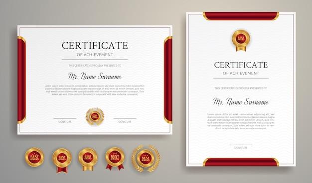 Reinigen sie die rote und goldene zertifikatsrandvorlage mit goldenen abzeichen