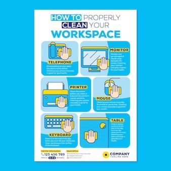 Reinigen sie ihre workspace-plakatkampagne im flat-design-stil