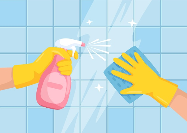 Reinigung der oberfläche hände mit sprühflasche und tuch, die badezimmerfliesenwandillustration abwischen