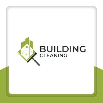 Reinigung des gebäudelogo-designvektors sauberer gebäudestadtreiniger