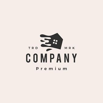Reinigung haus spritzwasser hipster vintage logo vorlage