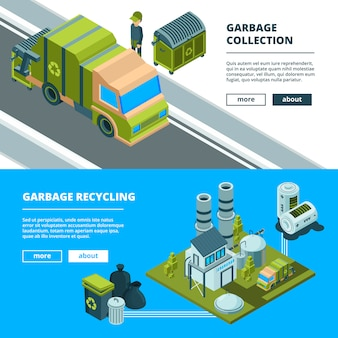 Reinigung, recycling von abfällen banner. müll sortieren und müllverbrennungs-lkw der städtischen umwelt säubern