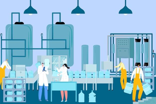 Reinigung von getränken wasseraufbereitungsfabrik wasserproduktion spezielle filtertechnologie flacher vektor i ...