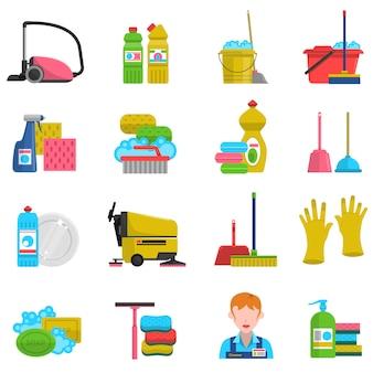 Reinigungs-icons set
