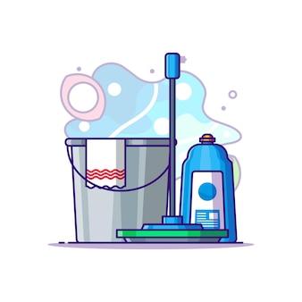 Reinigungsausrüstung cartoon illustration. tag der arbeit konzept weiß isoliert. flacher cartoon-stil
