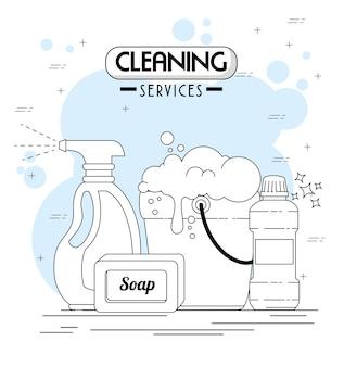 Reinigungsdienste embleme und logos