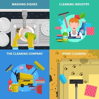 Reinigungskonzept icons set
