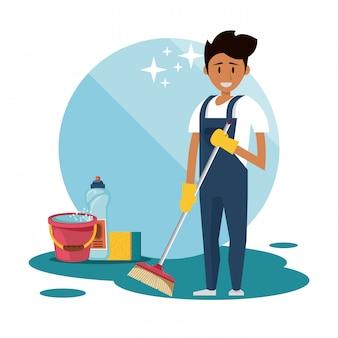 Reinigungskraft mit reinigungsmitteln reinigungsservice