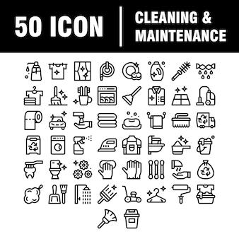 Reinigungslinie symbole. symbole für wäscheservice, fensterschwamm und staubsauger. waschmaschine, reinigungsservice und haushaltsreiniger. fensterreinigung, abwischen, waschmaschine.