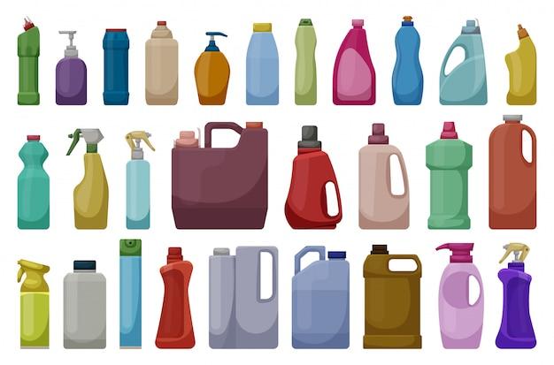 Reinigungsmittel des produktkarikatur-ikonensatzes