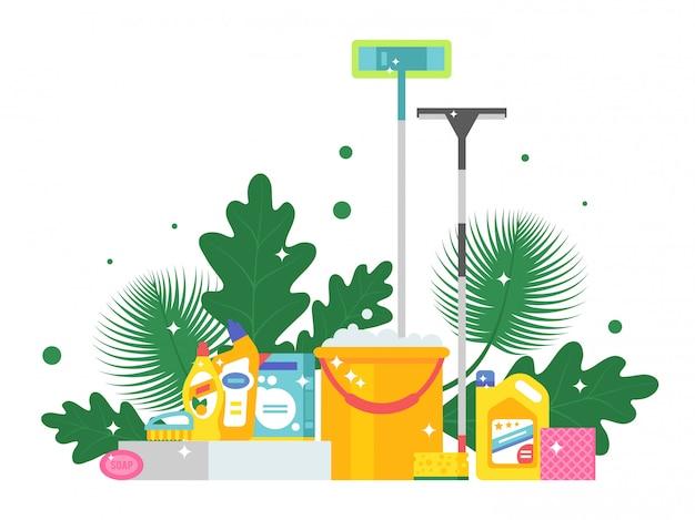 Reinigungsprodukte und frische grünblätter, illustration. flacher arthintergrund mit eimer, mopp, seife und schwamm. funkelnd saubere, glänzende haushaltswaren