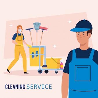 Reinigungsservice-banner, paar arbeiter mit reinigungswagen mit ausrüstungsikonenillustrationsentwurf Premium Vektoren