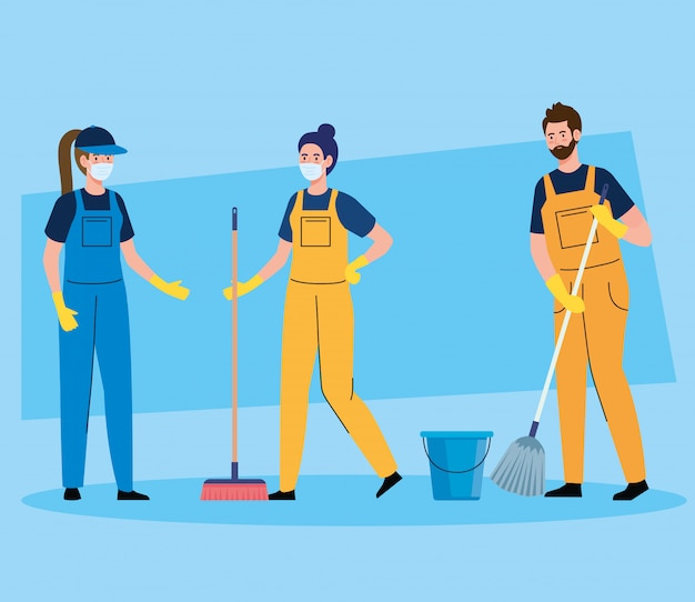 Reinigungsservice des hausmeisterteams, reinigungskräfte, die medizinische maske tragen, in der uniform, die mit professioneller ausrüstung des saubereren vektorillustrationsentwurfs arbeitet