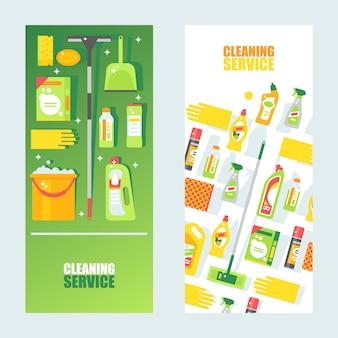 Reinigungsservice-fahne, abbildung. flache ikonen von reinigungsprodukten und -zubehör, von mopp, von eimer und von schwamm. professionelle werbung für den reinigungsservice