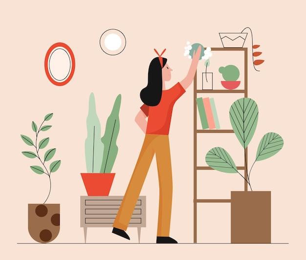 Reinigungsservice. frau, die wohnzimmerinneninnenraum reinigt.