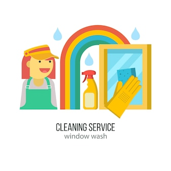 Reinigungsservice. hand in gummihandschuh mit schwamm wäscht das fenster.