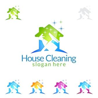 Reinigungsservice logo design mit haus und spray