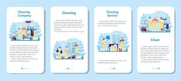 Reinigungsservice oder banner-set für mobile unternehmensanwendungen. sammlung von frau und mann, die hausarbeit tun. berufliche tätigkeit. hausmeister waschboden und möbel. isolierte vektorillustration