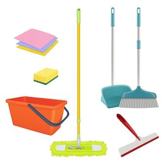 Reinigungsservice. realistische ausrüstung für wäsche zu hause bodenbürste eimer besen sterile badreiniger set.