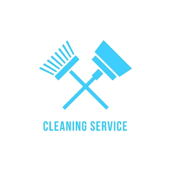 Reinigungsservice-symbol mit staubsauger und bürste. konzept der haushälterin, housekeeping-emblem, aufräumarbeiten. isoliert auf weißem hintergrund. flacher stil trend moderne markendesign-vektorillustration