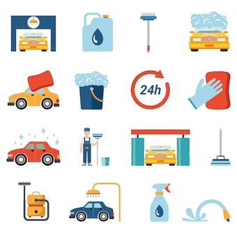 Reinigungsset für autowaschanlagen im flachen stil. wachsschaum waschmittel duschwasser shampoo staubsauger arbeiter stand konzeptionell.