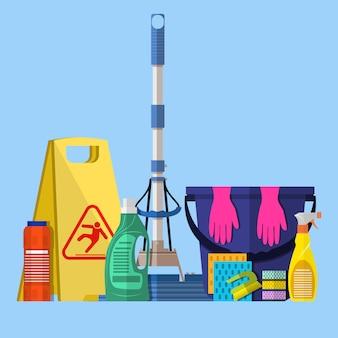 Reinigungsset. mop, schwamm, blauer plastikeimer