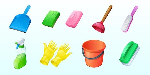 Reinigungssymbole mit eimerschwamm und spray